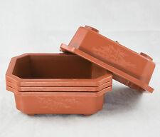 "4 Rectangular Plastic Bonsai / Succulent Pots  6.25""x 4.5""x 2"" - Dark Orange"