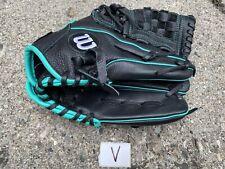 "New listing Wilson Girls A500 12"" Softball Glove Black Teal Right Hand Throw A05RF1612"