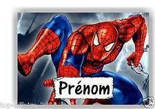 Plaque de porte en ( sur ) bois  Spiderman  avec prénom   N° 153