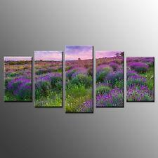 Large Canvas Print Painting Purple Flower Canvas Wall Art Picture-5pcs No Frame