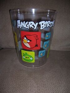 Angry Birds Clear Plastic Trash Can Wastebasket Garbage Can Childs Kids Room NEW