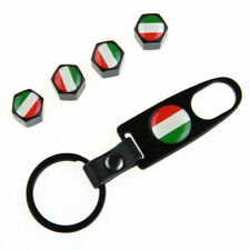 Brand New Italy Italian Flag Wheel Tire Rims Valve Caps Stem Air with Keychain