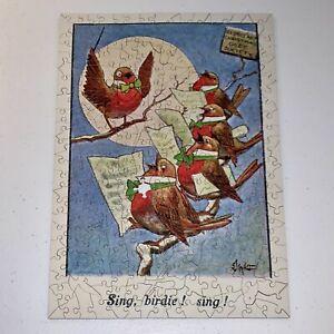 WENTWORTH Wooden Puzzle RARE Sing Birdie Vintage Christmas Card OOP Liberty