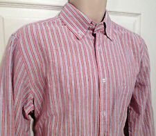August Silk Men Small Dress Shirt Pink w/ Gray Strip Cotton Oxford MS38