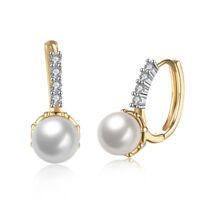 18K Gold Plated Swarovski Crystal Pave Pearl Huggie  Earring