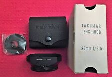 ASAHI PENTAX F/3.5 28MM LENS HOOD SUNSHADE FOR TAKUMAR LENS w/CASE & BOX NEW