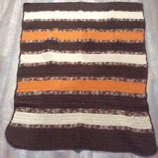 Vintage Crochet Afghan Orange Cream Brown Stripe Handmade Throw 38 x 46 Retro