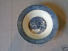 "VINTAGE CURRIER & IVES BLUE BY ROYAL HOME SWEET HOME 10"" ROUND VEGETABLE BOWL"