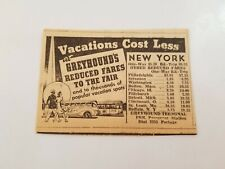 1940 Greyhound's Vacation Spots New York Advertisement Bus Rates Fast Ship P1B