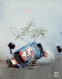 RICHARD PETTY SIGNED 8x10 PHOTO TERRIBLE CRASH NASCAR RACING LEGEND BECKETT BAS