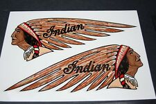 "NOS NEW repro USA made INDIAN TANK DECALS ""Flesh"" ** VINYL! (not water slide)"