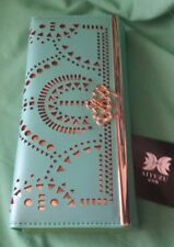 AIYUZU Ladies Wallet HEART CROWN 'BLING' w laser cut outs Turquoise rrp$78