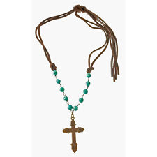 Brass Roman Syle Cross on Blue Magnesite and Leather Tie Nicklace Made in USA