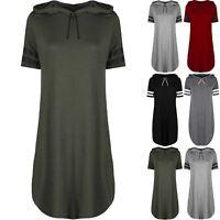 Women Ladies Curved Hem Hooded Stripes Oversized Baggy Overhead Mini Shirt Dress