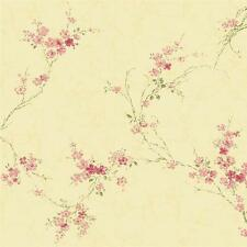 Wallpaper Designer Wisteria Vine on  Butter Cream Rose Pink  Green