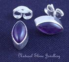 Stud Earrings 925 Sterling Silver 6X11mm Oval Semi-Precious Natural Gemstone Cab