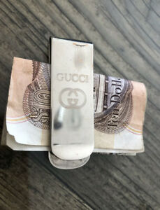 VINTAGE GUCCI DESIGNER MONEY CLIP SILVER PLATED ON COPPER 18.8 GRAMMS 8CM X 2 CM