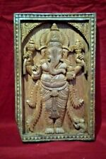Ganesh Wall Panel Hindu Temple Vintage Wooden Figurine Sculpture Home decor US