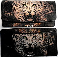 GENUINE STING RAY LEATHER  PAINTED WHITE TIGER LADIES TRIFOLD CLUTCH NEW WALLET