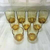 Vintage retro  brown colour glasses 5 small 4 med size great condition
