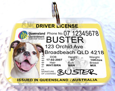 Queensland Australia Driver License Australian dog cat tag custom Photo Id