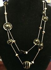 """Black Murano Glass Bead and Natural Stone 42"""" Long Stainless Necklace Nwot J3"""