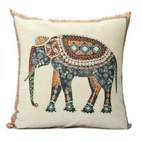 Indian Knitted Elephant Cotton Linen Throw Pillow Case Cushion Cover Decor M0S6