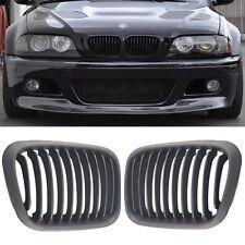 Matte Black Front Kidney Grille for BMW E46 Sedan 4 Door 1998-2001 320i 323i etc
