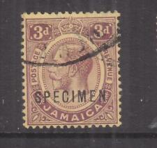 JAMAICA, 1912 KGV, 3d. Purple on Yellow , SPECIMEN, GABON RECEIVING, mng.