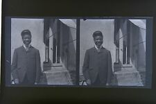 Portrait d'homme type Africain Photo stéréo négatif sur film souple ca 1911