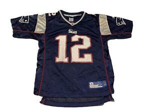 YOUTH Reebok NFL Size L New England Patriots Tom Brady #12 Blue Football Jersey