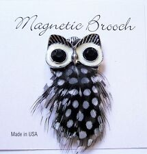 Magnetic Brooch Clip Clasp Pin Silver Tone Owl Feather Accessory Scarves Shawls