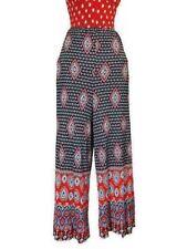 Vintage Diaper Pants  Border Print Polyester Red Blue Boho 1970S Medium