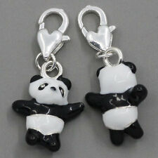 5PCs Clip On Charms Fits Link Chain Bracelets Enamel Panda Silver Plated