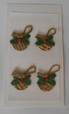 *BARGAIN* XMAS HESSIAN PUDDINGS EMBELLISHMENTS FOR CARDS & CRAFTS-BARGAIN 99P