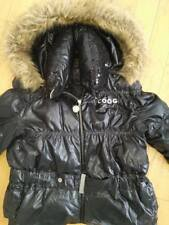 Coogi Women's Winter Coat Puffer Black Faux Fur Hood Jacket Sequins