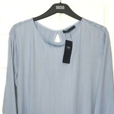 M&S Marks s20 Ladies Light Blue Ribbed Wrap Back Soft Stretch Blouse Top BNWT