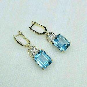 4Ct Emerald Cut Aquamarine Women's Drop/Dangle Earrings 14k Yellow Gold Over