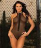 SHIRLEY OF HOLLYWOOD Black Fishnet Zipper Teddy, US One Size, NWOT