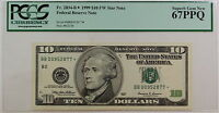 1999 $10 FRN *BB-Star* fw Note, PCGS Gem 67 PPQ, Fr. 2034-B*, Federal Reserve