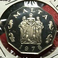 1978 MALTA  50 CENTS  PROOF BRILLIANT UNCIRCULATED COIN SCARCE