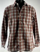 Brooks Brothers Red Fleece Shirt Plaid Button Down Shirt Size Small Orange White