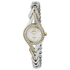 Seiko Solar Mother Of Two-Tone Diamonds Ladies Watch SUP174