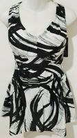 Maxine of Hollywood Plus Size Empire Swimdress Black White Print One Piece Suit