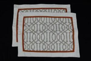 Set of 2 Modern Bohemian Style Placemats Trellis Rust Orange Tapestry