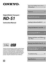 Onkyo Integra ND-S1 Transport Owners Instruction Manual