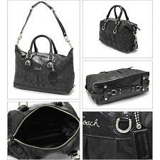 AUTHENTIC COACH ASHLEY SIGNATURE SATCHEL CONVERTIBLE BAG PURSE F15443 BLACK