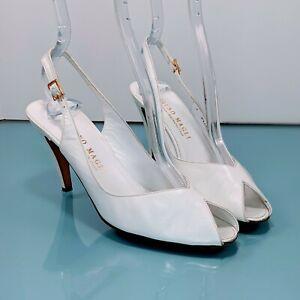 Vintage BRUNO MAGLI Womens 7 Narrow White Leather Peeptoe Slingback Heels Shoes