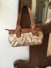 Coach KHAKI/ TAN  Soho Pleated Optic Signature Tote Handbag purse F14492
