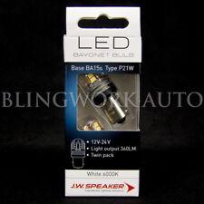 (PAIR) JW Speaker LED P21W BA15s S25 6000K Bright White bulb for Reverse Light